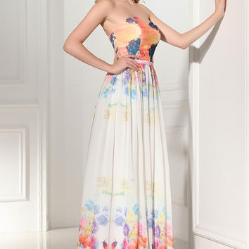 2016 Newest Beautiful Cheap Sweetheart Printed Chiffon Prom Dresses K118