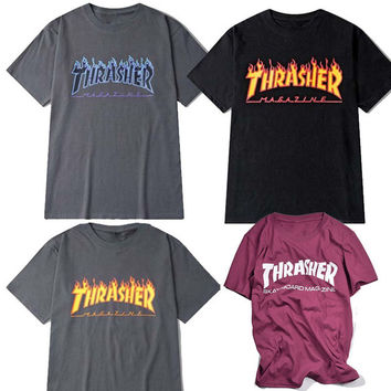 thrasher t Shirt Men women skateboards tee short sleeve skate tshirts tops hip hop tshirt homme man trasher t shirts
