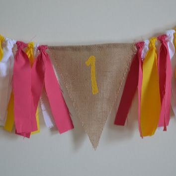 Burlap High Chair banner pink, yellow and white lace 1st birthday decor Pink Lemonade Birthday/You are my Sunshine Birthday Ready to ship