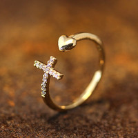 Open Heart Arrow Cross Ring Crystal Adjustable Wrap Ring Silver Gold Plated Jewelry Gift Idea