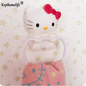 Keythemelife Kawaii Red Bow Hello Kitty Sucker Hook,Bathroom Towel Hook Hanger Holder Accessories for Bathroom Towel Racks CA