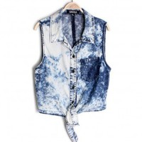 ACID WASH FRONT TIE TOP