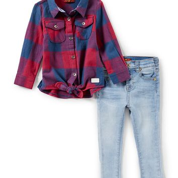 7 for all mankind Baby Girls 12-24 Months Tie-front Plaid Shirt & Denim Jeans Set | Dillards