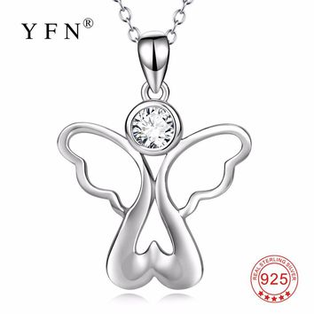 PYX0155 YFN Genuine 925 Sterling Silver Angel With Wings Cubic Zirconia Pendants Necklaces Love Heart Jewelry For Women
