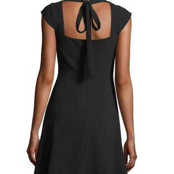 Theory Cap-Sleeve Tieback Admiral Crepe Mid-Thigh Dress | Neiman Marcus