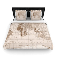 "Catherine Holcombe ""Emerald World"" Vintage Map Woven Duvet Cover"