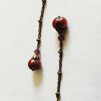 Gorgeous Vintage, Elegant, BoHo, Gypsy,  Gold Filled French Hook Earrings With Cranberry Pearls and Great Movement