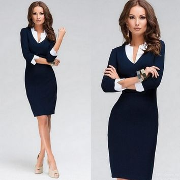 Sexy V Neck Pencil Dress Women Ready Dinner Midi Dresses