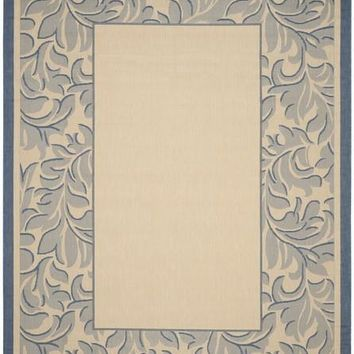 Safavieh Courtyard CY2666-3101 Acanthus Border Natural / Blue Rug