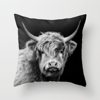 Highland Cow Black And White Throw Pillow by Linsey Williams Wall Art, Clothing, And