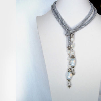 Blue Lariat Necklace -beaded rope necklace, beaded crochet necklace Pale Blue Long Lariate Necklace