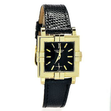 LONGINES WITTNAUER VINTAGE 14KT GOLD CASE BLACK DIAL AND BAND QUARTZ MENS  WATCH 97e3babb3e