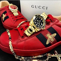Gucci Red Bee Fashion Leisure Shoes