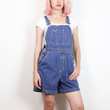 Vintage 1990s Overalls Shorts Blue Denim GAP Dungarees 90s Soft Grunge Classic Shortalls Overall Playsuit Romper Jean Jumper S Small M Med
