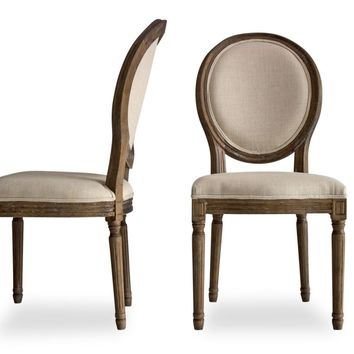 Elizabeth French Country Dining Chairs Beige Linen (Set Of 2)