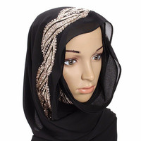 Women Muslim Sequin Lace Shawls Islamic Hijab Long Scarf Headwear