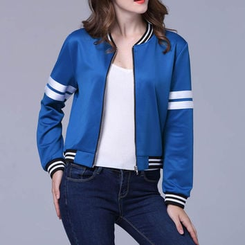 Autumn Winter Women Fashion Casual Striped Stand Neck Long Sleeve Satin Bomber Jacket Basic Coat Zipper Ladies Baseball Outwear
