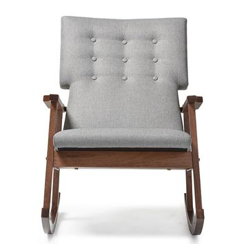 Baxton Studio Agatha Mid-century Modern Grey Fabric Upholstered Button-tufted Rocking Chair Set of 1