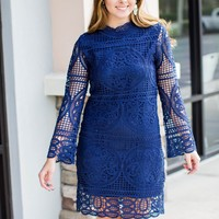 Love Goes Lace Dress - Navy