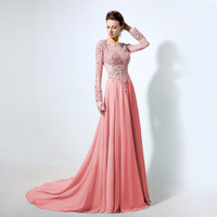 Long Sleeve Prom Dresses,Pink Lace Evening Dress,Sheer Neck Plus Size Dress