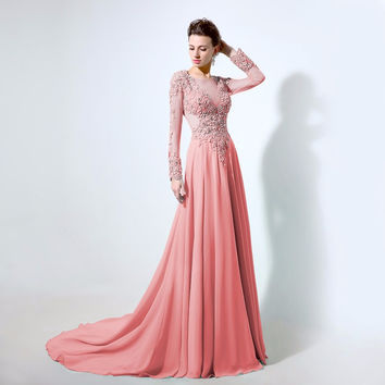 Sheer Neck Prom Dresses,Pink Prom Dresses,Long Evening Dress