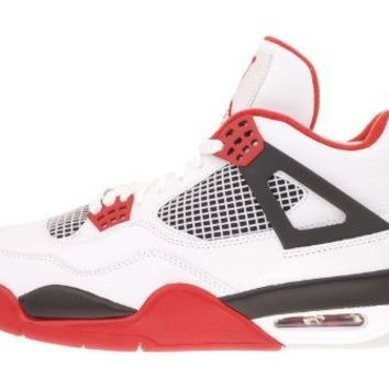 Mens Nike Air Jordan Retro 4 Basketball Shoes White / Black / Varsity Red 308497-110 Size 8.5