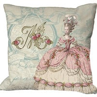 New Marie Antoinette Pink Monogram 20x20 or 18x18 or 16x16 or 14x14 Inch Pillow Cover