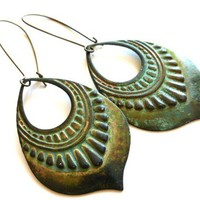 verdigris patina earrings, green hoops, bronze jewelry kidney ear wire