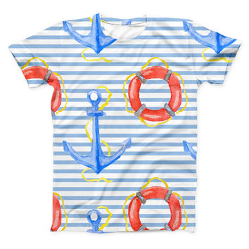 The Striped Watercolor Nautical Blue and Pink ink-Fuzed Unisex All Over Full-Printed Fitted Tee Shirt
