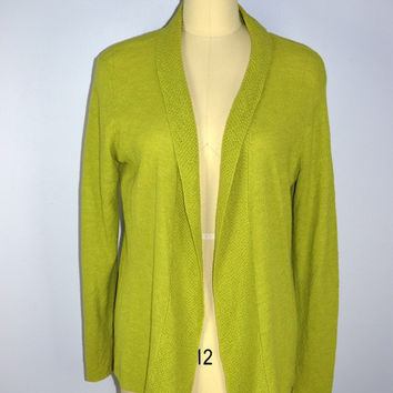 Eileen Fisher Green Fly Away Cardigan Sweater Large Italian Yarn
