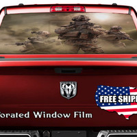 American Soldiers War Zone Combat Full Color Print Perforated Film Truck SUV Back Window Sticker Perf010