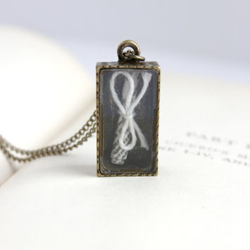 Simple Antique Gold Message in a Box Pendant - White Scroll Keepsake Necklace - Shabby Romantic Handmade Jewelry - Ready to Ship