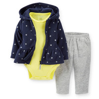 3-Piece Microfleece Peplum Hooded Cardigan Set
