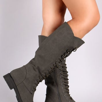 Combat Lace-Up Knee High Military Boots | UrbanOG
