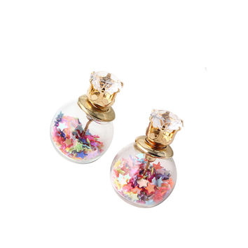 Glass Gold Plated Double Side Pearl Stud Earrings for Women Floral Ear Clips Aros Brincos E2289