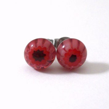 Pink and Red Flower Stud Earrings, Handmade Millefiori Fused Glass, Stocking Stuffer