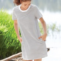 Free To Fall Dress in White and Black Stripes | Monday Dress Boutique