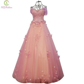 Banquet Luxury Romantic Pink Lace Flower Long Evening Dress Princess Party Prom Dresses