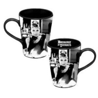 Vandor 92062 Audrey Hepburn Breakfast at Tiffany's 12 oz Ceramic Mug, Black and White