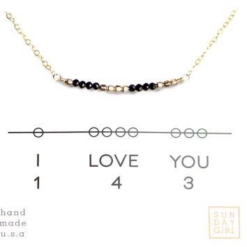 """I Love You"" Gemstone Secret Code Necklace - Black Spinel"