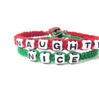 Naughty Nice Christmas Bracelets for Couples Red Hemp Green Hemp Christmas Gift