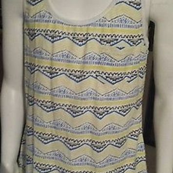 NWOT Bobbie Brooks Tank Top Adult Sz Meduim Multi Color Blue Yellow Sleeveless