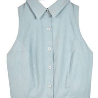 Scout Blue Backless Button Up
