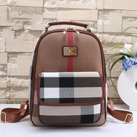 Burberry Woman Men Fashion Leather Travel Bookbag Shoulder Bag Backpack