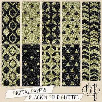 Glitter Digital Paper Black and Gold. Polkadots, chevron, triangles, perfect for invites, cards, wall art, graphic design, scrapbooking etc.