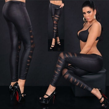 Fashion Sexy Women's Wetlook Leather Like Bandage Mesh Strappy Leggings Pants Tights (Size: M, Color: Black) = 1905860612