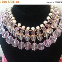 On Sale Pink Statement Necklace, 1960's 1970's Lucite Vintage Jewelry, Faux Pearl & Pink Bib Necklace, Glamour Girl Style, Gift For Her