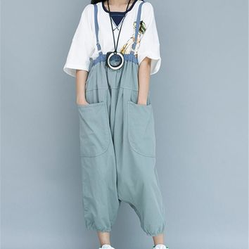 Yesno PC3 Women Loose Baggy Harem Cropped Pants Bib Overalls Jumpsuits Rompers Casual Boyfriend Low Crotch Gathered Back