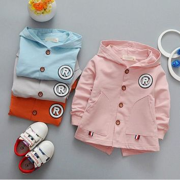 High-quality fashion new cotton boy and girl baby long-sleeved hooded jacket + free gift