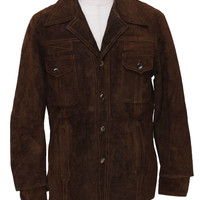 Men's Buttoned Dark Brown Suede Leather Jacket | Style and Decor